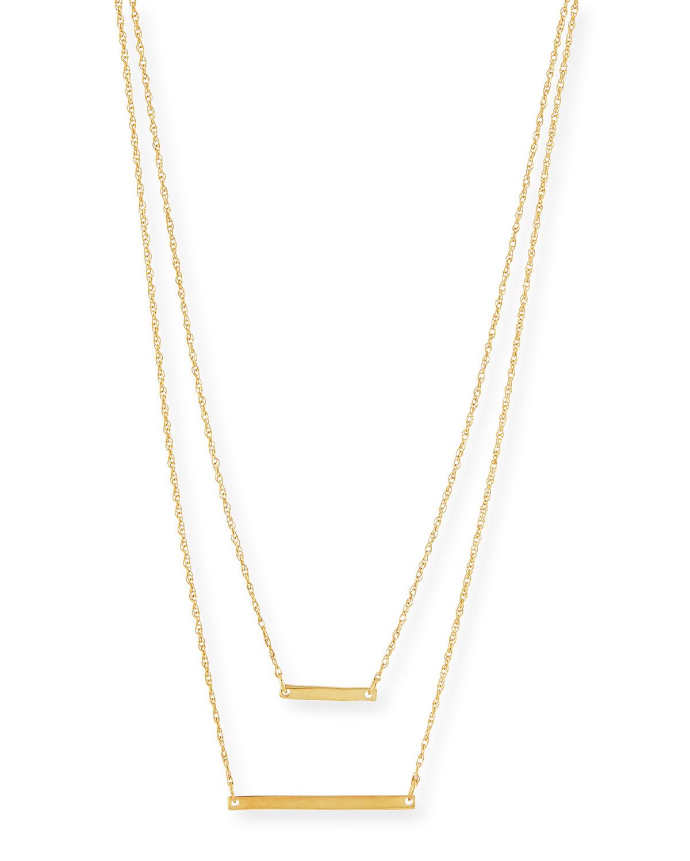 Jennifer Zeuner Cynthia Gold Vermeil Layered Bar Necklace