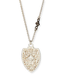 Champagne Diamond Cravelli Shield Pendant Necklace, 16