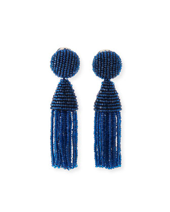 Beaded Short Tassel Earrings, Cobalt