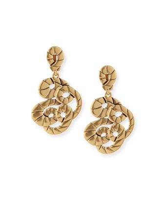 Golden Swirl Clip-On Drop Earrings