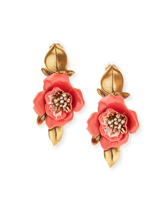Painted Flower Drop Earrings
