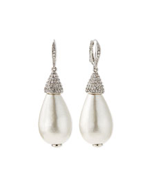 Pearly Crystal Teardrop Earrings