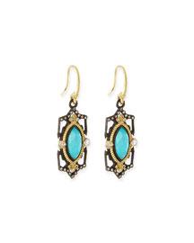 Blue Turquoise Scroll Drop Earrings