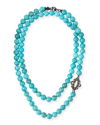 Old World Magnesite Scroll Necklace, Turquoise