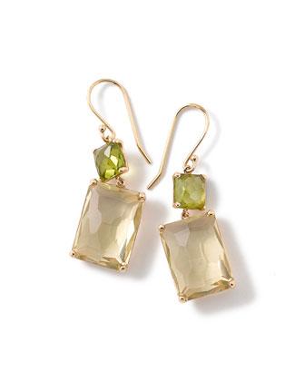 18k Gold Rock Candy Rectangle-Cut Peridot & Lemon Citrine Earrings
