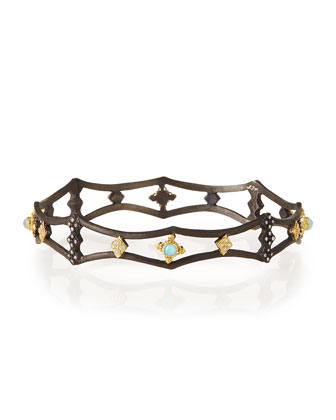 Old World Midnight Pointed Bangle with Blue Turquoise