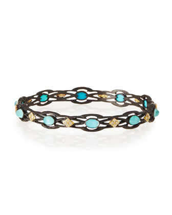 Old World Open Scroll Cravelli Bangle with Turquoise