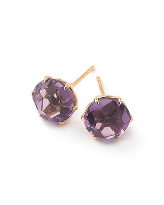 18k Rock Candy Amethyst Stud Earrings