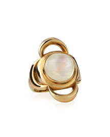 Lunar Cross Moonstone Ring