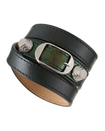 Giant 12 Leather Bracelet, Emerald
