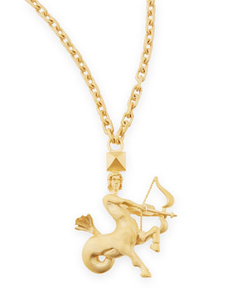 Golden Sagittarius Zodiac Necklace, 36