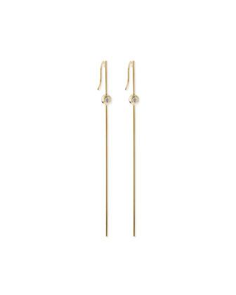 14k Gold Long Bar Earrings with Diamonds