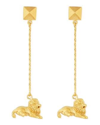 Golden Leo Zodiac Earrings