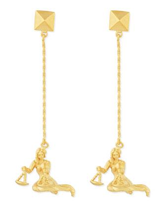 Golden Libra Zodiac Earrings