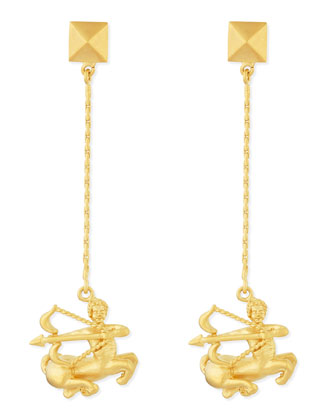 Golden Sagittarius Zodiac Earrings