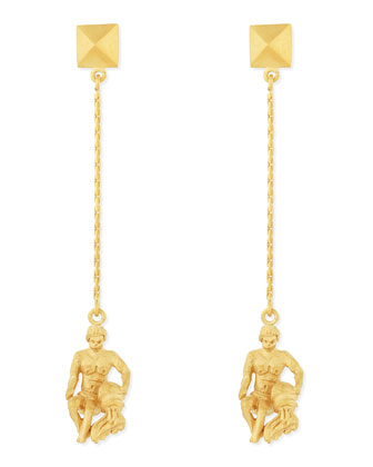 Golden Aquarius Zodiac Earrings