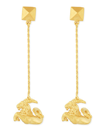 Golden Capricorn Zodiac Earrings