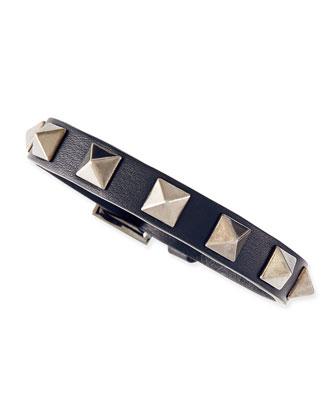 Small Rockstud Leather Buckled Bracelet, Navy