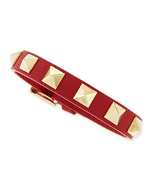 Small Rockstud Leather Buckled Bracelet, Red