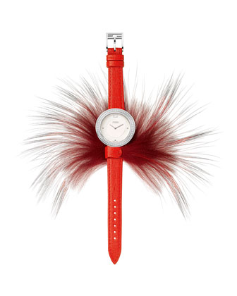 Fendi My Way Watch with Removable Fur Glamy, Red/Steel
