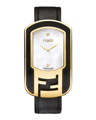 Chameleon Black Enamel & Yellow Goldtone Watch