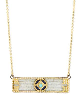 18k Mosaic Bar Pendant Necklace