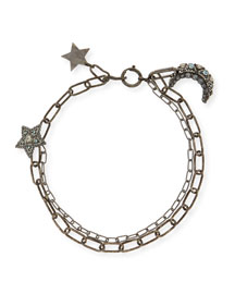Crystal Star & Moon Short Necklace