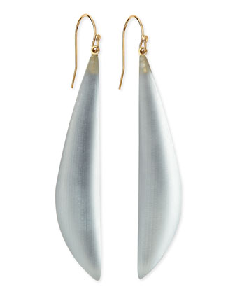 Long Angled Lucite Drop Earrings (Made to Order), Silver