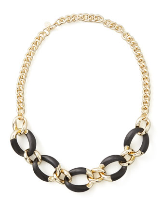 Lucite Curb-Link Necklace (Made to Order), Black