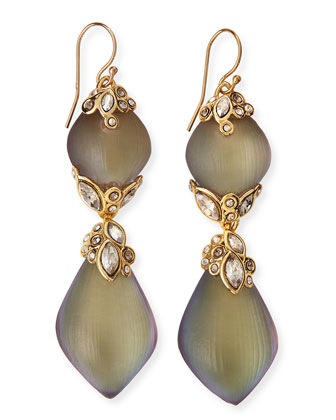 Crystal-Lace Double Lucite Drop Earrings
