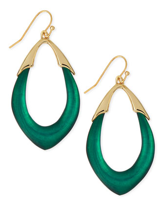 Medium Lucite Orbit Link Drop Earrings (Made to Order), Black Forest Green