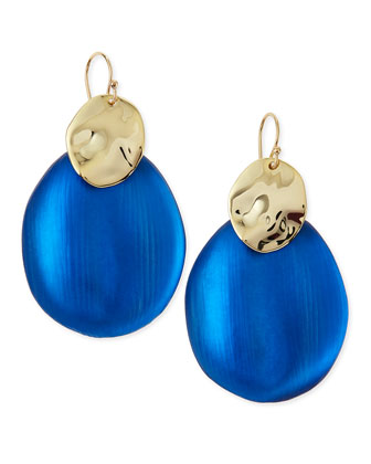 Liquid Chip Wire Lucite Earrings (Made to Order), Cobalt