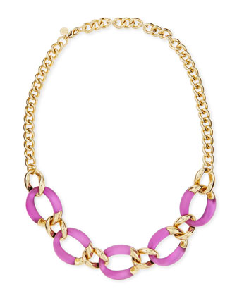 Lucite Curb-Link Necklace (Made to Order), Hot Pink