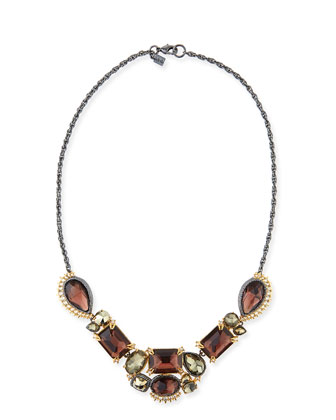 Elements Crystal-Studded Five-Part Bib Necklace