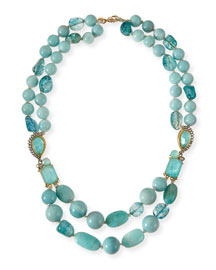 Gilded Muse d'Ore Blue Sponge Bead Necklace