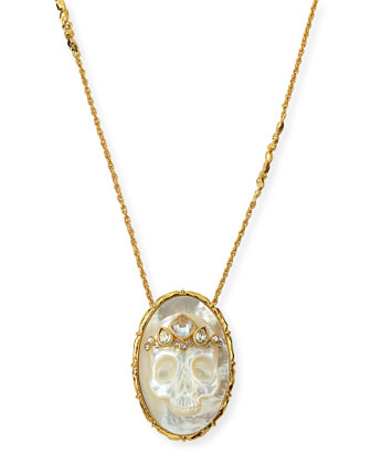 Gilded Muse d'Ore Skull Cameo Pendant Necklace