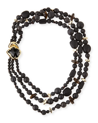 Miss Havisham Three-Strand Black Onyx Necklace