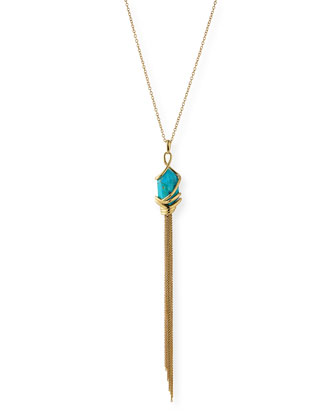 Turquoise Howlite Tassel Necklace