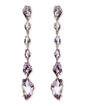 Cool Heather Marquise Amethyst & Diamond Linear Kite Drop Earrings
