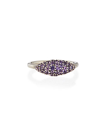 Sterling Silver Pave Purple-Gray Sapphire Marquise Ring