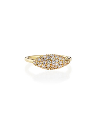 Yellow Gold White Diamond Marquise Ring