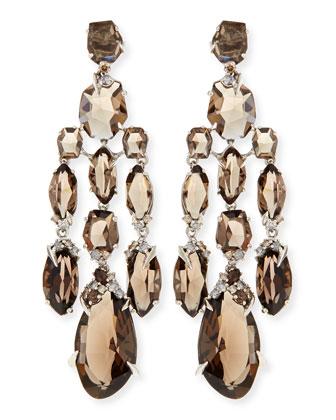Smoky Quartz & Diamond Chandelier Earrings