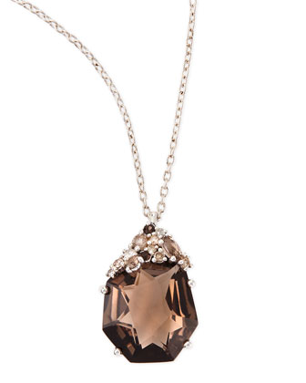 Smoky Quartz & Diamond Pendant Necklace