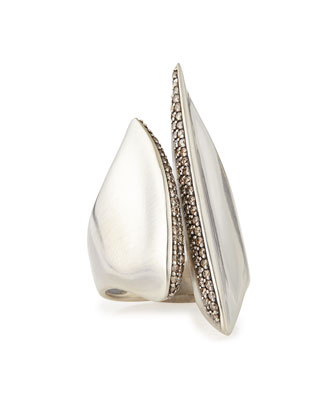Silver Sculptural Cleaved Ring with Diamonds