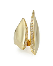 18k Gold Sculptural Cleaved Ring with Diamonds