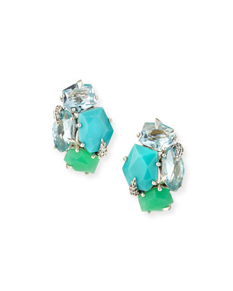 Marquis Cluster Clip-On Earrings, Mint