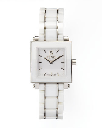 Square Ceramic Stainless Steel Watch, White
