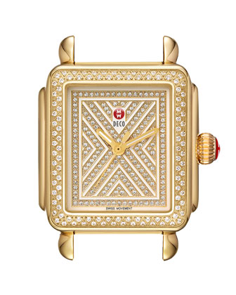Limited Edition Deco Diamond-Dial Watch Head, Gold