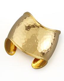 22k Gold-Plate Hammered Curve Cuff