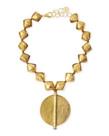 Brass Beaded Pendant Necklace